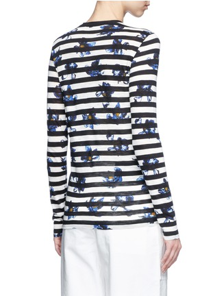 Back View - Click To Enlarge - PROENZA SCHOULER - Floral stripe long sleeve cotton T-shirt