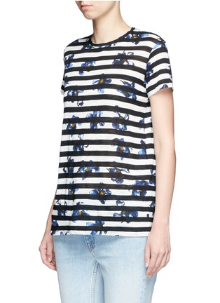 Front View - Click To Enlarge - Proenza Schouler - Floral stripe tissue jersey cotton T-shirt