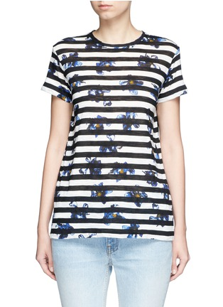 Main View - Click To Enlarge - Proenza Schouler - Floral stripe tissue jersey cotton T-shirt