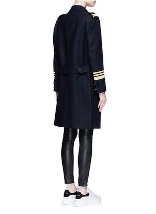 Back View - Click To Enlarge - Neil Barrett - Metallic stripe virgin wool oversize military coat