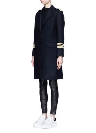 Front View - Click To Enlarge - Neil Barrett - Metallic stripe virgin wool oversize military coat