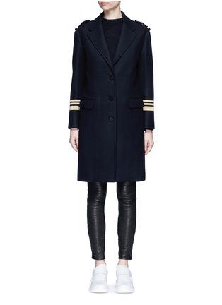 Main View - Click To Enlarge - Neil Barrett - Metallic stripe virgin wool oversize military coat
