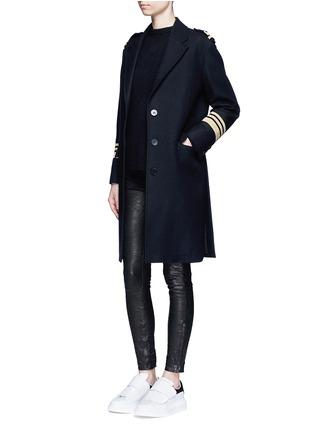 Figure View - Click To Enlarge - Neil Barrett - Metallic stripe virgin wool oversize military coat