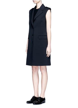 Front View - Click To Enlarge - NEIL BARRETT - Virgin wool blend twill oversize sleeveless jacket