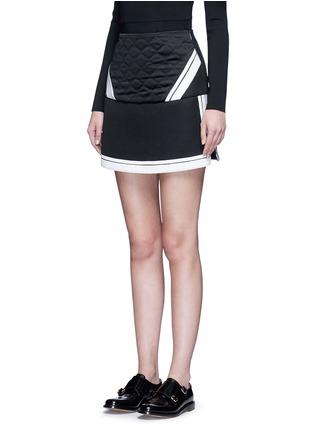 Front View - Click To Enlarge - Neil Barrett - Contrast stripe tech mesh skirt