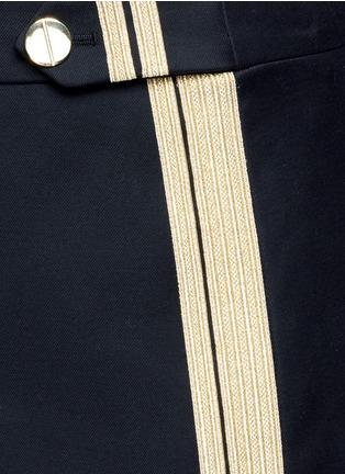 Detail View - Click To Enlarge - NEIL BARRETT - Metallic stripe cotton mini skirt