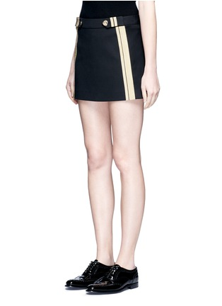 Front View - Click To Enlarge - NEIL BARRETT - Metallic stripe cotton mini skirt