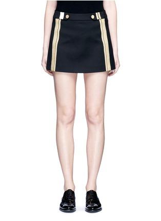 Main View - Click To Enlarge - NEIL BARRETT - Metallic stripe cotton mini skirt