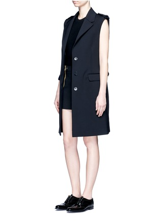 Figure View - Click To Enlarge - NEIL BARRETT - Metallic stripe cotton mini skirt