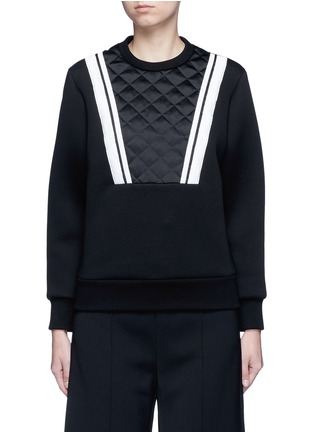 Main View - Click To Enlarge - Neil Barrett - Contrast stripe bonded jersey sweatshirt
