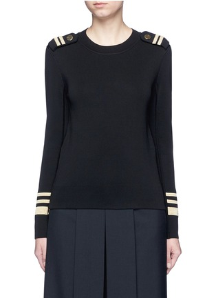 Main View - Click To Enlarge - Neil Barrett - Metallic stripe Milano knit sweater