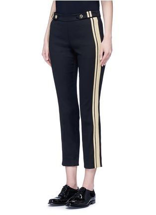 Front View - Click To Enlarge - NEIL BARRETT - Metallic stripe cotton pants