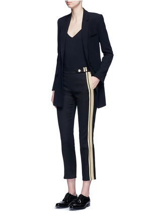 Figure View - Click To Enlarge - NEIL BARRETT - Metallic stripe cotton pants
