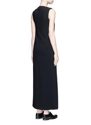 Back View - Click To Enlarge - NEIL BARRETT - Satin stripe panel crepe maxi dress