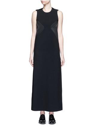 Main View - Click To Enlarge - NEIL BARRETT - Satin stripe panel crepe maxi dress