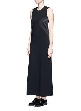 Figure View - Click To Enlarge - NEIL BARRETT - Satin stripe panel crepe maxi dress