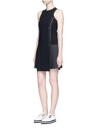 Figure View - Click To Enlarge - Neil Barrett - Satin stripe pleat crepe dress