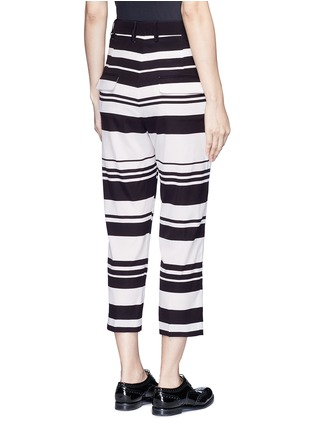 Back View - Click To Enlarge - NEIL BARRETT - Stripe cropped silk pants