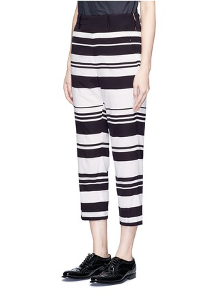 Front View - Click To Enlarge - NEIL BARRETT - Stripe cropped silk pants