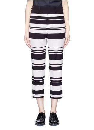 Main View - Click To Enlarge - NEIL BARRETT - Stripe cropped silk pants