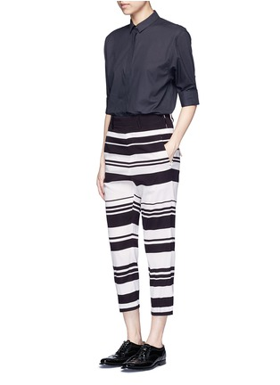Figure View - Click To Enlarge - NEIL BARRETT - Stripe cropped silk pants