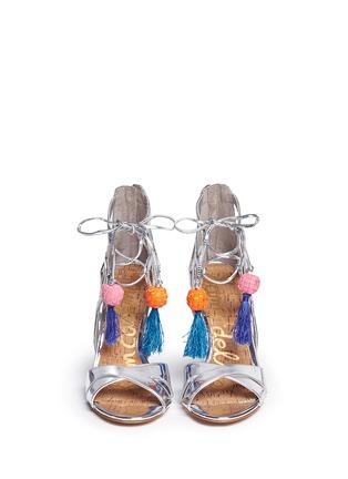 Front View - Click To Enlarge - Sam Edelman - 'Azela' pompom tassel mirror sandals