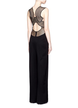 Figure View - Click To Enlarge - Stella McCartney - Embroidered mesh lace wool jumpsuit