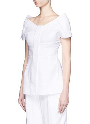 Front View - Click To Enlarge - Stella McCartney - Structured off-shoulder cotton piqué top