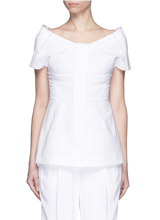 Main View - Click To Enlarge - Stella McCartney - Structured off-shoulder cotton piqué top