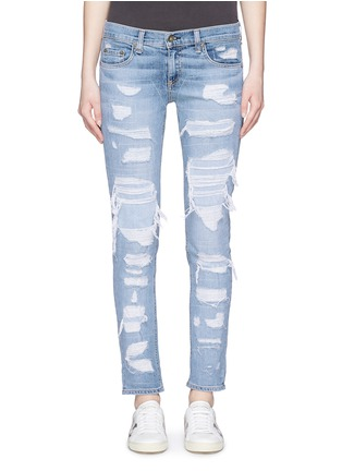 Detail View - Click To Enlarge - rag & bone/JEAN - 'The Dre' ripped slim boyfriend jeans