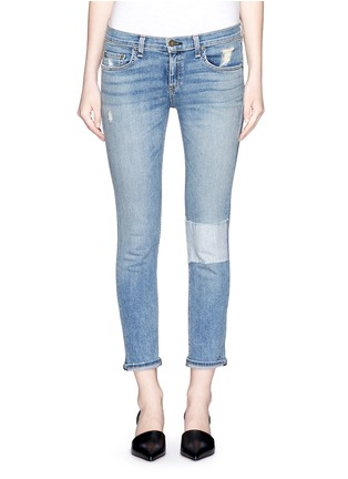 Detail View - Click To Enlarge - rag & bone/JEAN - 'Tomboy' stripe patch distressed slim fit jeans