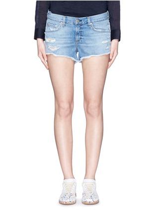 Detail View - Click To Enlarge - RAG & BONE/JEAN - Distressed cutoff denim shorts