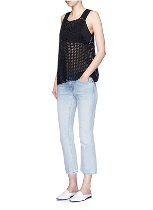 Figure View - Click To Enlarge - SIMON MILLER - 'Nez' silk open knit tank top