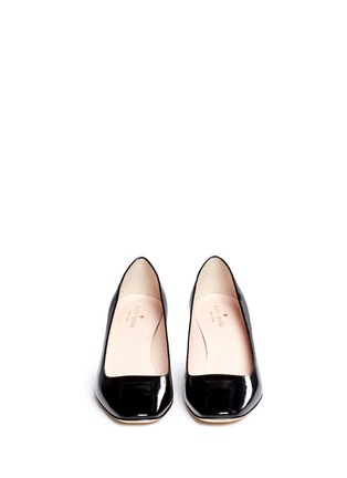 Front View - Click To Enlarge - Kate Spade - 'Dawson Too' faceted heel patent leather pumps
