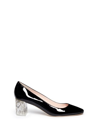 Main View - Click To Enlarge - Kate Spade - 'Dawson Too' faceted heel patent leather pumps