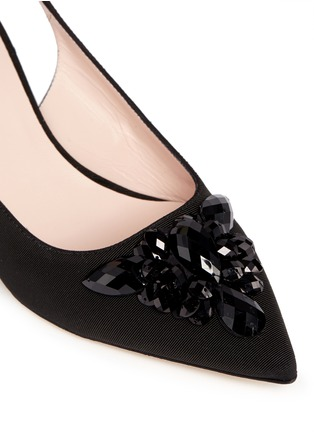 Detail View - Click To Enlarge - Kate Spade - 'Marina Too' jewel kitten heel slingback pumps