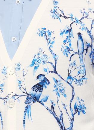 Detail View - Click To Enlarge - Alexander McQueen - Porcelain tree print wool-silk cardigan