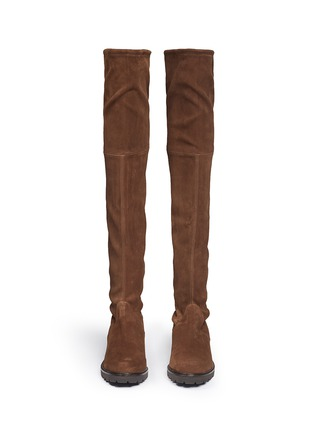 Front View - Click To Enlarge - Stuart Weitzman - 'Van Land' stretch suede thigh high boots