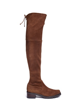 Main View - Click To Enlarge - Stuart Weitzman - 'Van Land' stretch suede thigh high boots