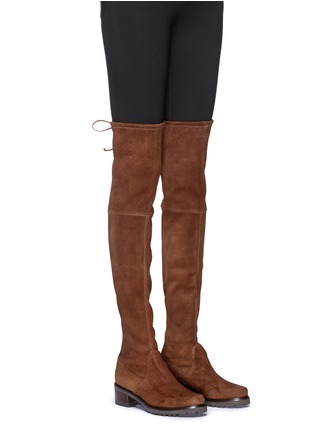 Figure View - Click To Enlarge - Stuart Weitzman - 'Van Land' stretch suede thigh high boots