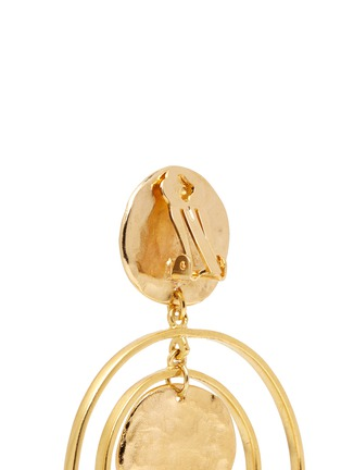 Detail View - Click To Enlarge - Kenneth Jay Lane - Coin charm hoop gold plated drop earrings
