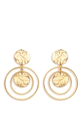 Main View - Click To Enlarge - KENNETH JAY LANE - Coin charm hoop gold plated drop earrings