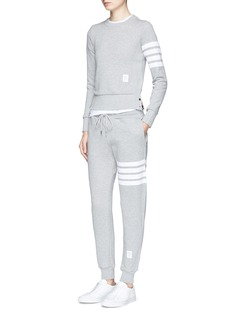Thom Browne Stripe sleeve cotton sweatshirt