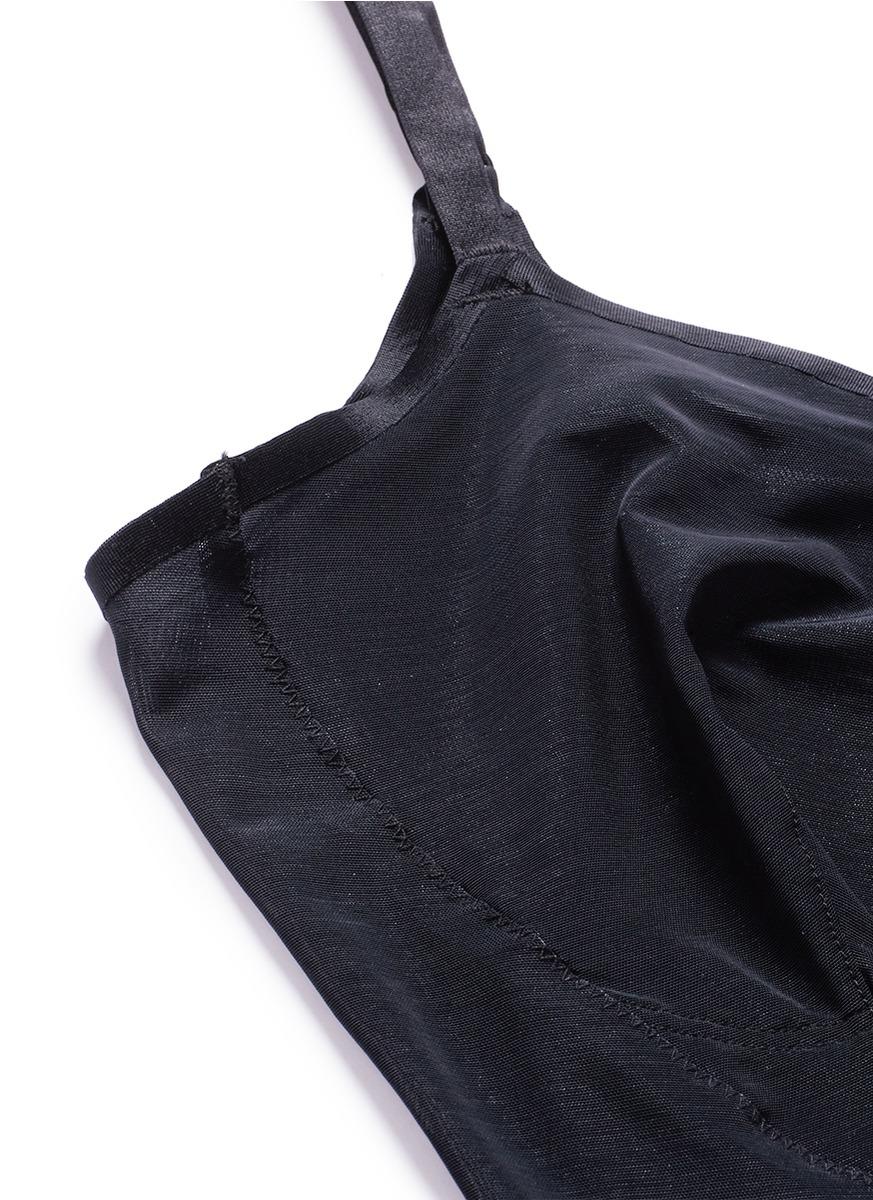 SPANX HAUTE CONTOUR NOUVEAU STRETCH-MESH THONG BODYSUIT, VERY BLACK