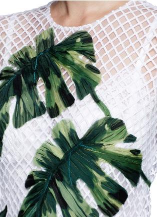 Detail View - Click To Enlarge - Dolce & Gabbana - Leaf appliqué lattice embroidery dress