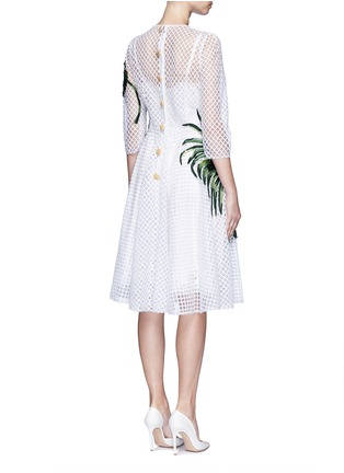 Back View - Click To Enlarge - Dolce & Gabbana - Leaf appliqué lattice embroidery dress