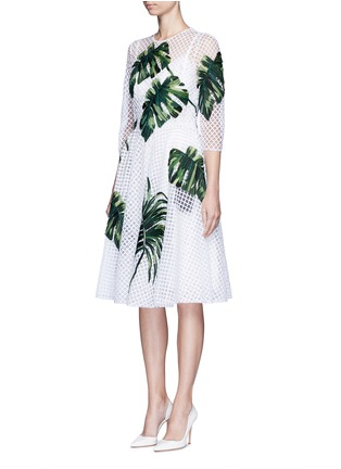 Front View - Click To Enlarge - Dolce & Gabbana - Leaf appliqué lattice embroidery dress