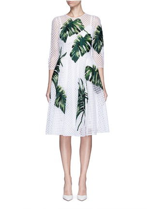 Main View - Click To Enlarge - Dolce & Gabbana - Leaf appliqué lattice embroidery dress