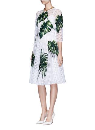 Figure View - Click To Enlarge - Dolce & Gabbana - Leaf appliqué lattice embroidery dress