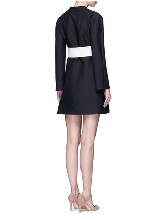 Back View - Click To Enlarge - Valentino - Kimono wrap wool-silk A-line dress